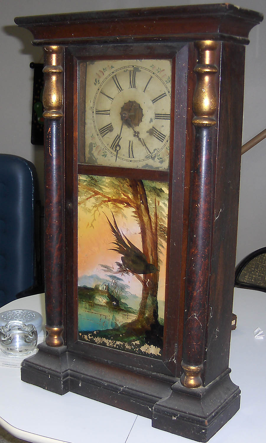 S.C. SPRING COLUMN AND CORNICE 8-DAY WEIGHT CLOCK